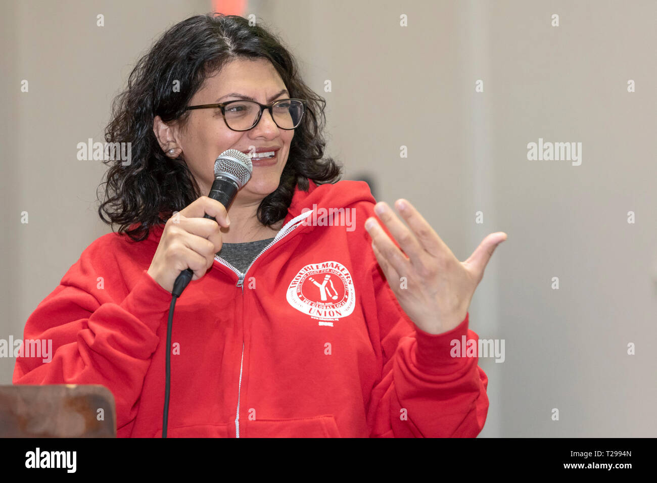 """Detroit, Michigan USA - 30 March 2019 - Congresswoman Rashida Tlaib (D-Mich.) speaks about the Green New Deal at a """"Troublemakers School"""" organized by Labor Notes, a magazine for grass roots labor union activists. Credit: Jim West/Alamy Live News Stock Photo"""