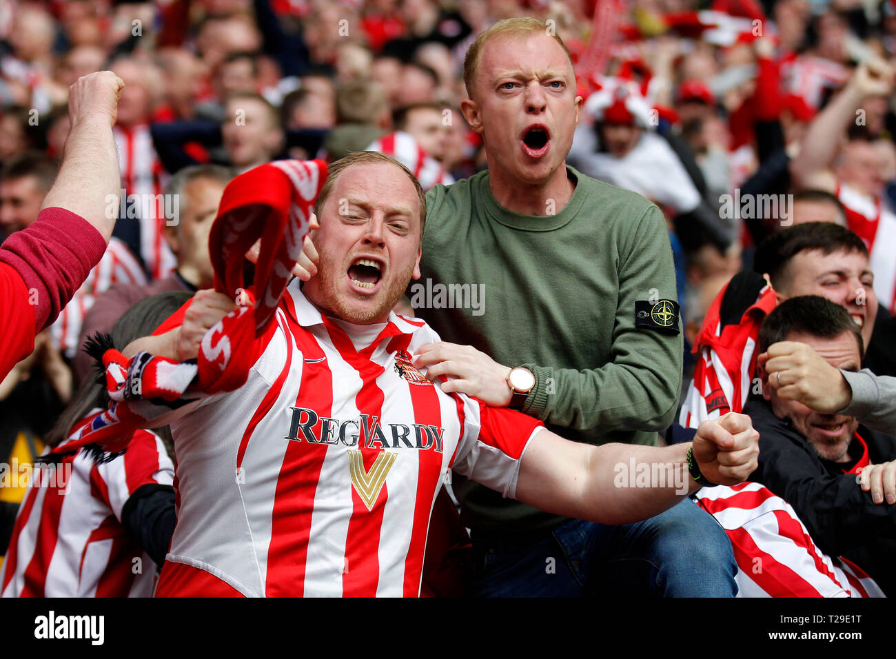 Sunderland AFC fans enjoy the goal during the Checkatrade Trophy Final match between Portsmouth and Sunderland at Wembley Stadium, London, England on 31 March 2019. Photo by Carlton Myrie.  Editorial use only, license required for commercial use. No use in betting, games or a single club/league/player publications. - Stock Image