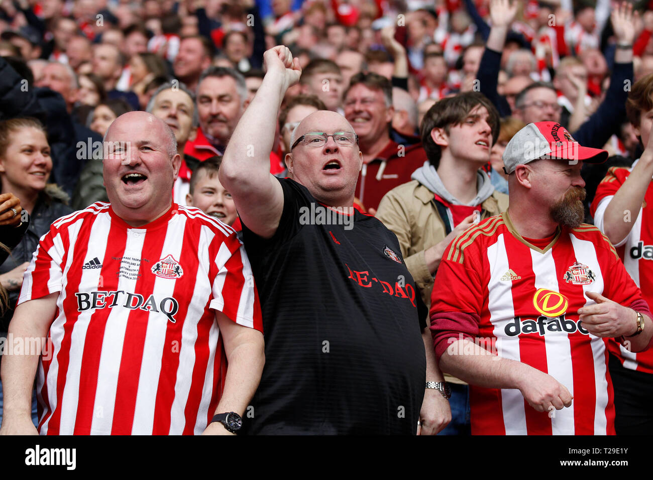 Sunderland AFC fans celebrate during the Checkatrade Trophy Final match between Portsmouth and Sunderland at Wembley Stadium, London, England on 31 March 2019. Photo by Carlton Myrie.  Editorial use only, license required for commercial use. No use in betting, games or a single club/league/player publications. - Stock Image