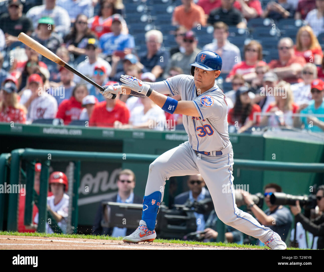303e0ca10ea New York Mets right fielder Michael Conforto (30) singles in the first  inning against the Washington Nationals at Nationals Park in Washington