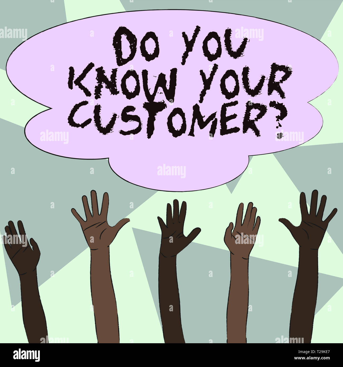 Text sign showing Do You Know Your Customer Question. Business photo showcasing service identify clients with relevant information Multiracial Diversi - Stock Image