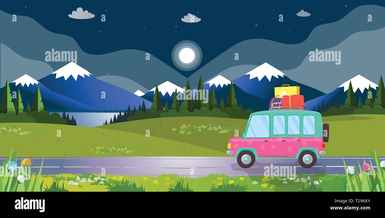 Hatchback Car with Suitcases on Roof Driving by Road on Beautiful Landscape Background with Mountains, Lake and Forest in Night Time at Summertime. Fa - Stock Vector