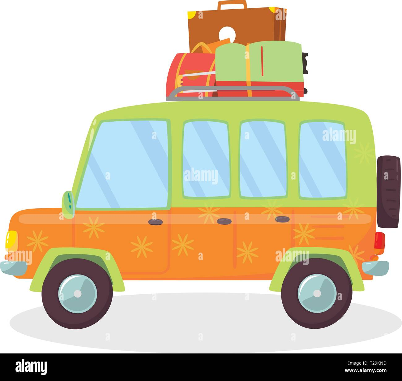 Orange, Green Colored Modern Car with Suitcases on Roof Isolated on White Background. Side View of Comfortable Coupe Automobile for Family Traveling.  - Stock Vector