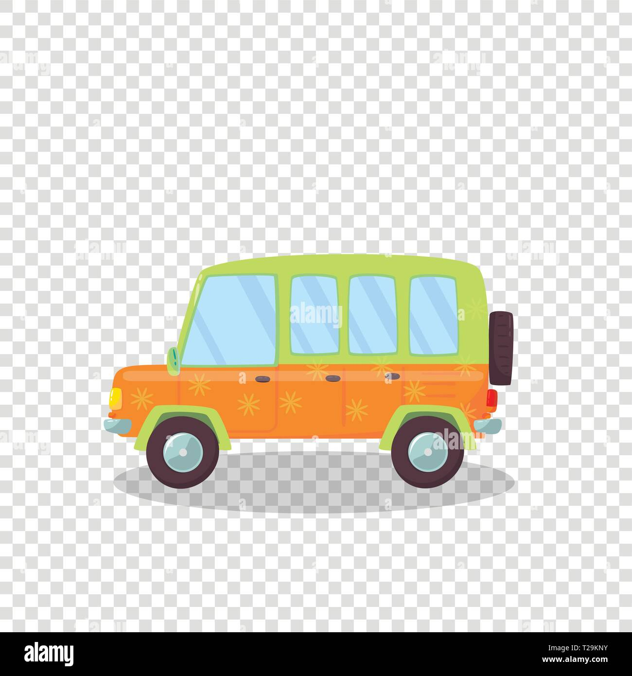 Cute Car with Flowers Ornament and Spare Wheel Isolated on Transparent Background. Side View of Hatchback or Coupe Automobile for Family Traveling. Ca - Stock Vector