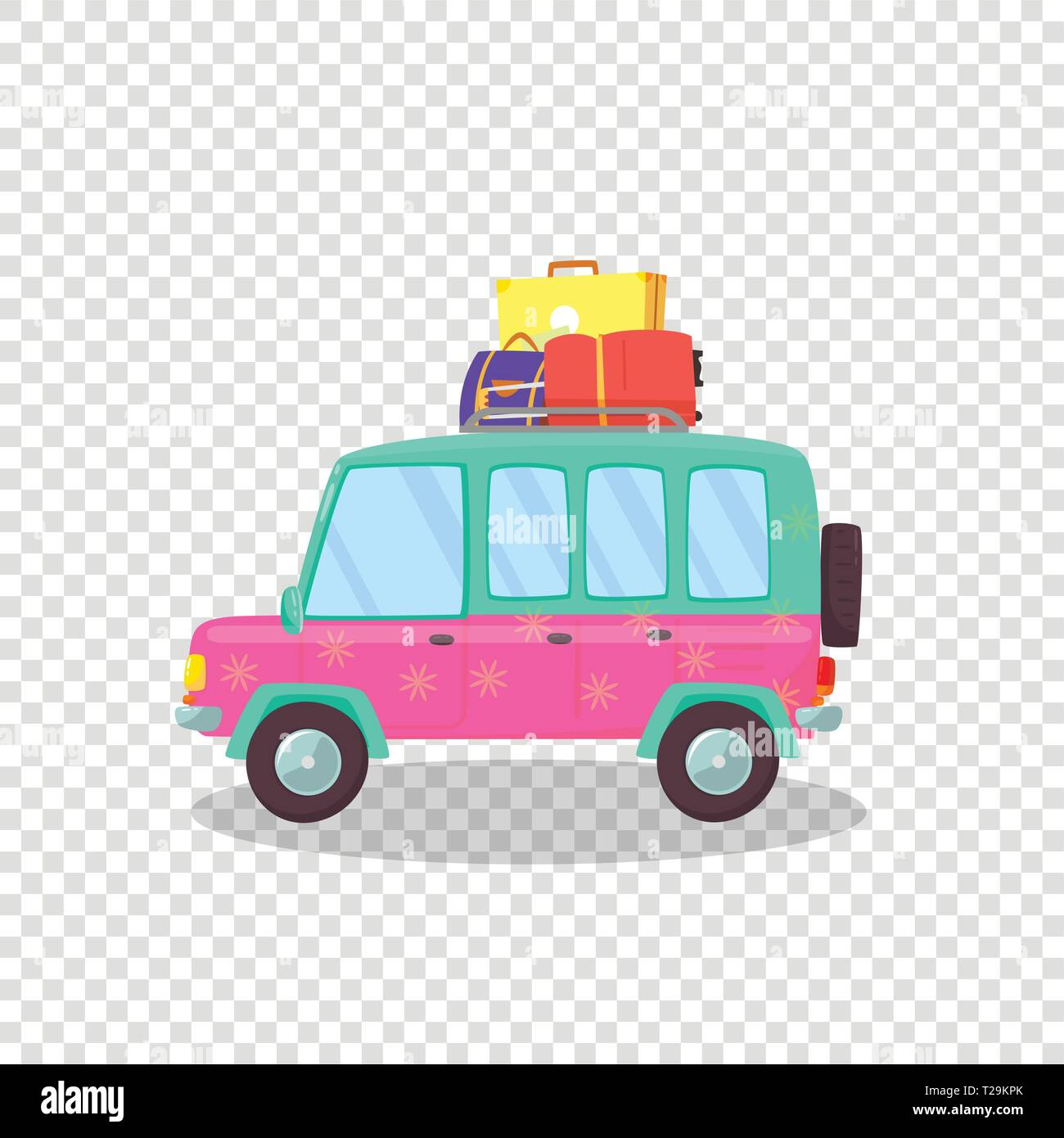 Pink, Green Modern Car with Spacious Trunk and Luggage on Roof Isolated on Transparent Background. Side View of Hatchback Auto for Family Traveling. C - Stock Vector