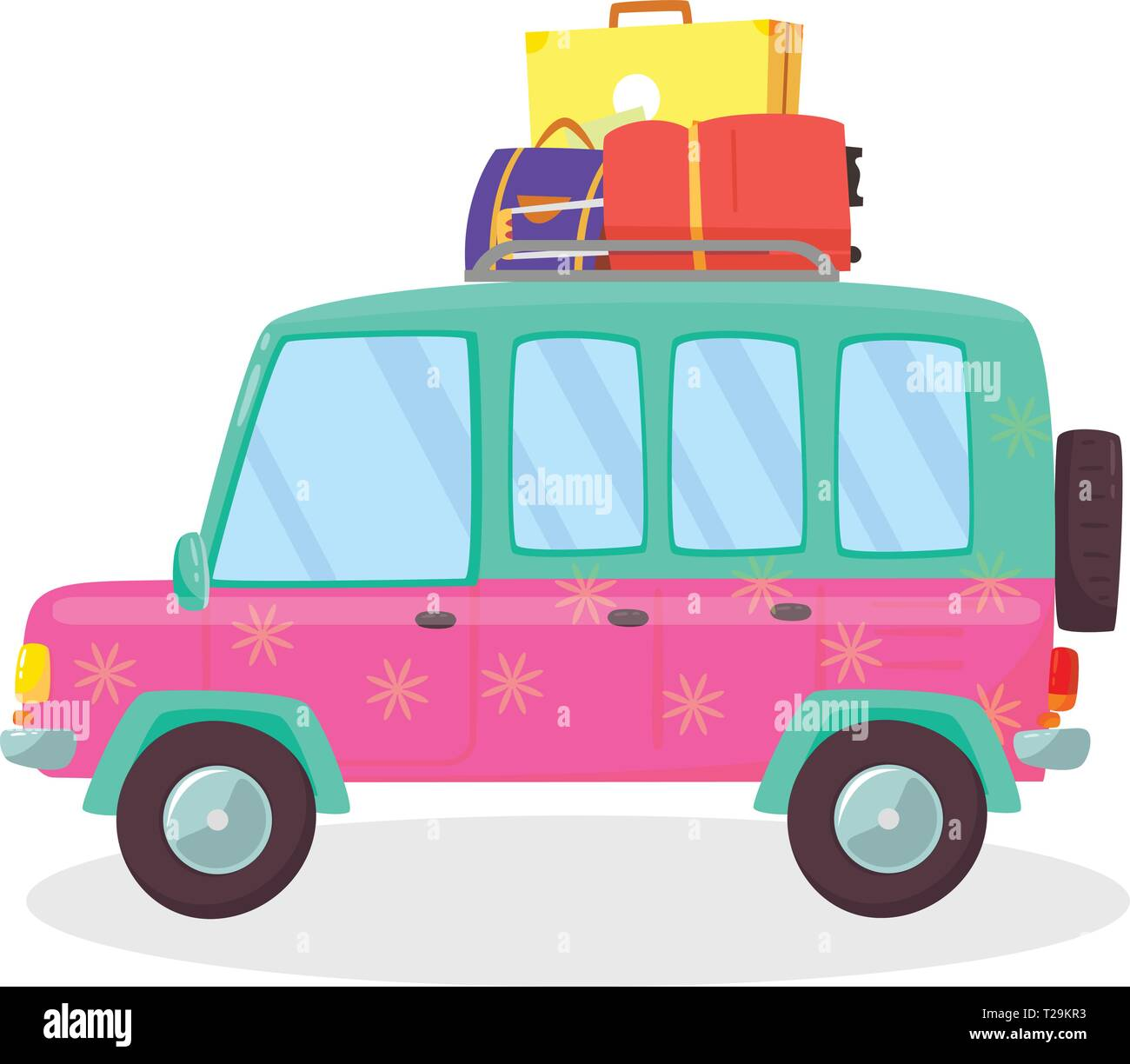 Suitcases and Bags in Trunk of Car Ready to Depart for Holidays, Outdoors, Trip, Travel. Side View of Hatchback Isolated on White Background. Travelin - Stock Vector