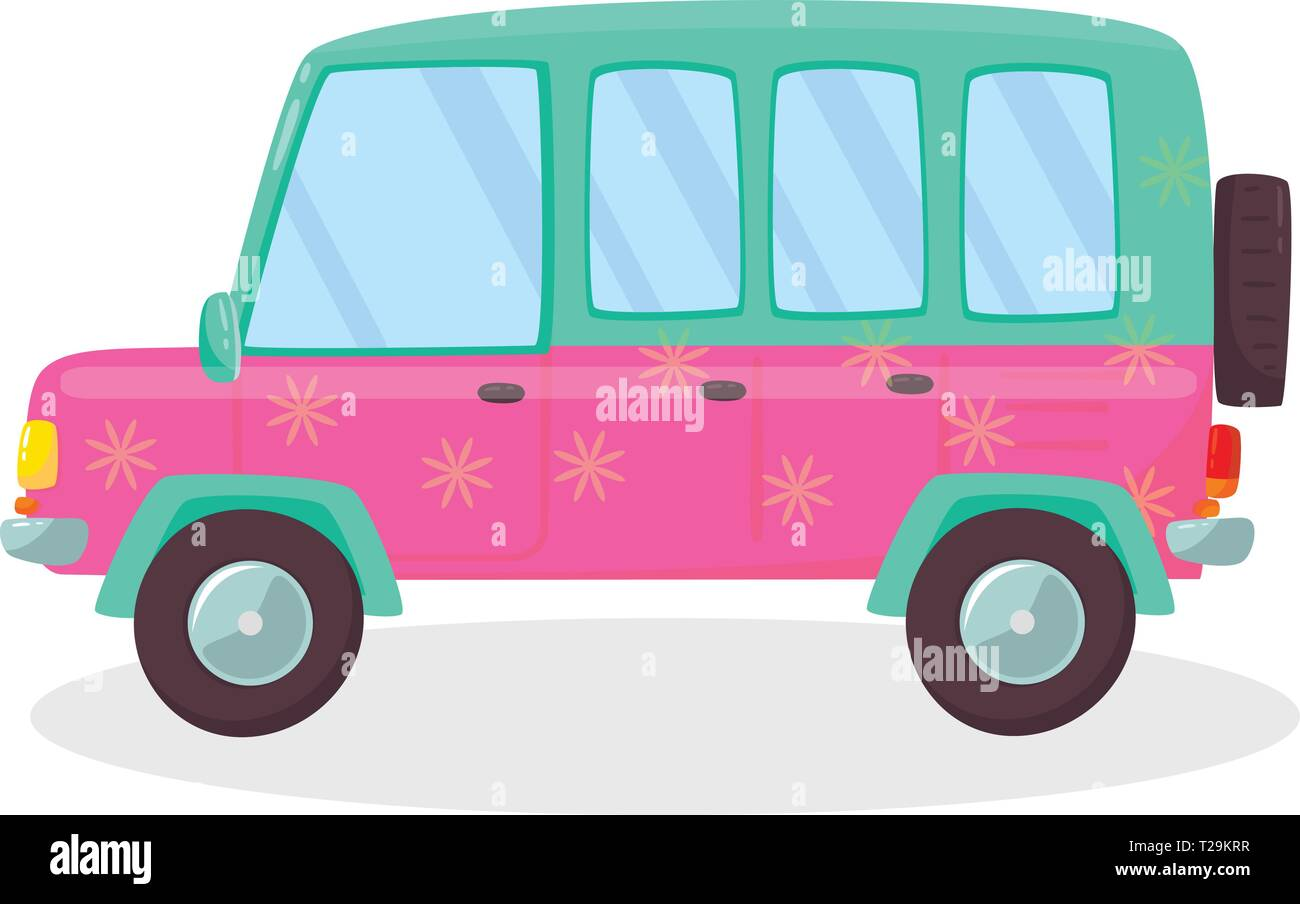 Pink , Green Colored Modern Car with Flowers Pattern Isolated on White Background. Side View of Comfortable Hatchback Automobile for Family Traveling. - Stock Vector