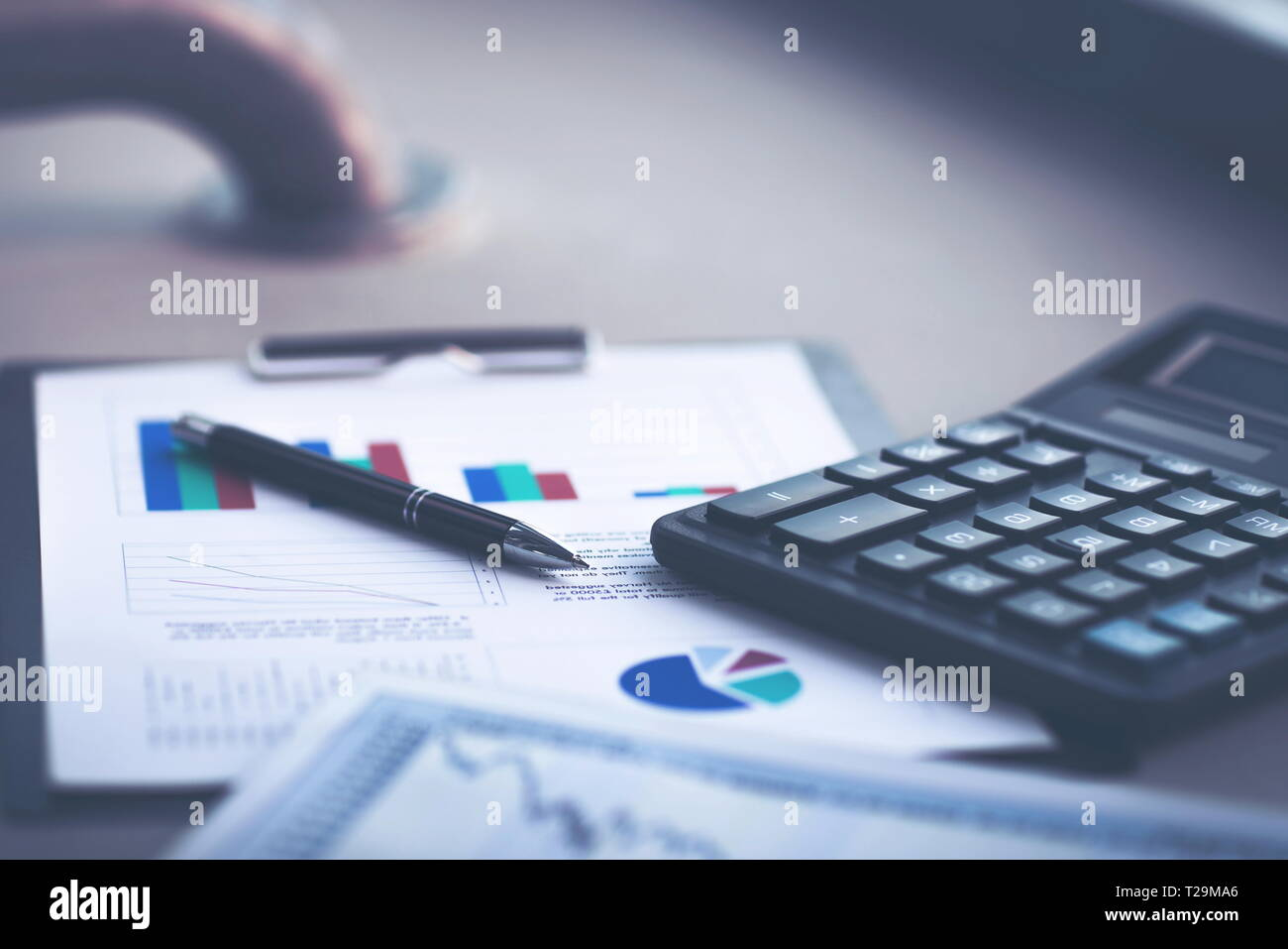 financial analysis on workplace businessman on a Sunny day - Stock Image