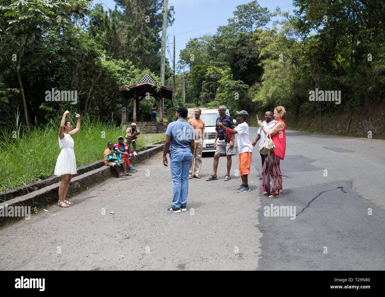 Tourists are taken to a viewpoint to see the famous Pitons in St Lucia, A Caribbean Island Stock Photo
