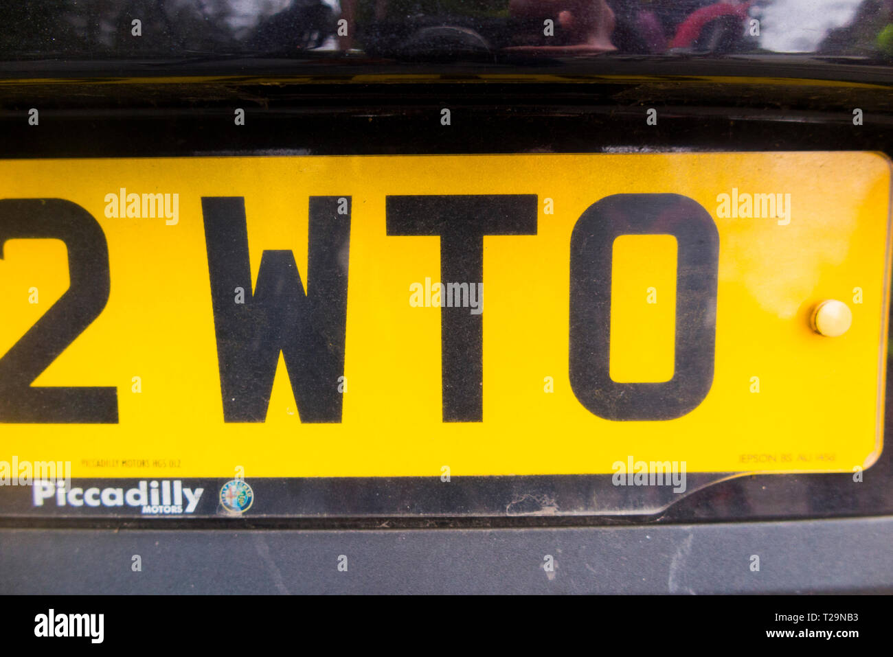 Car number registration plate which includes the letters WTO which could stand for world trade organisation. (106) - Stock Image
