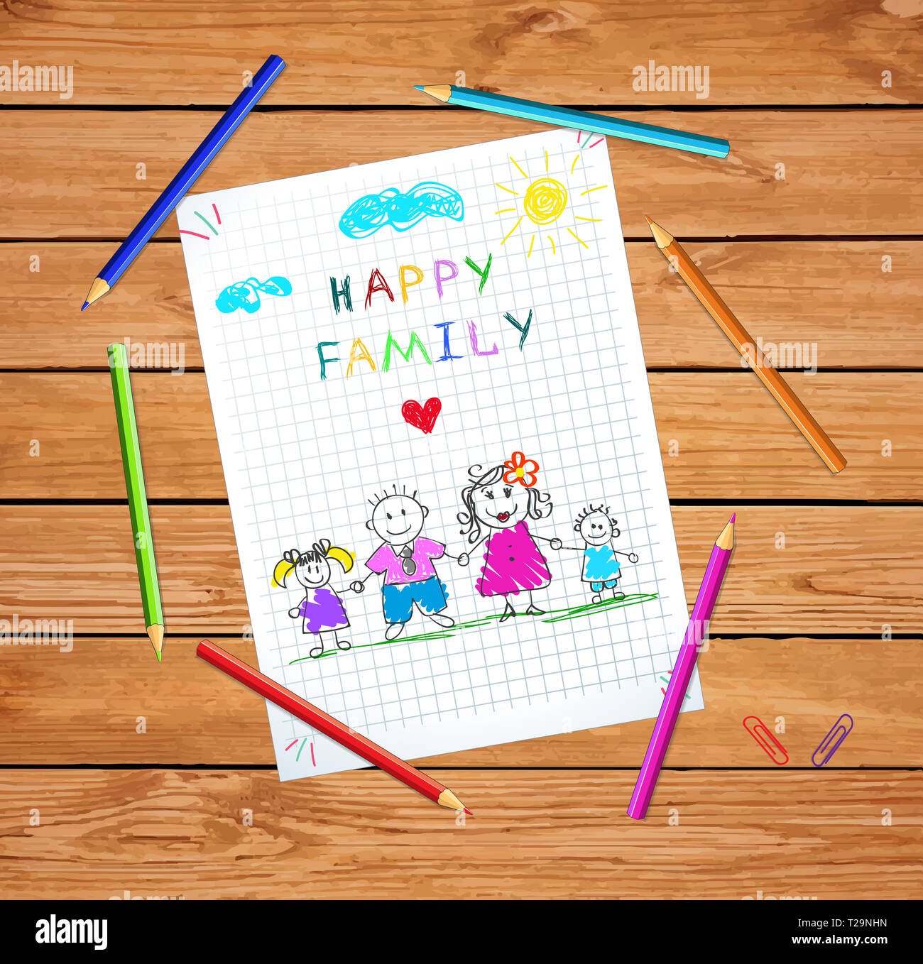 Young Parents Holding Hands of Children. Happy Family Day Greeting Card on Wooden Table Background with Colored Pencils Around. Doodle Style. Baby Dra Stock Photo