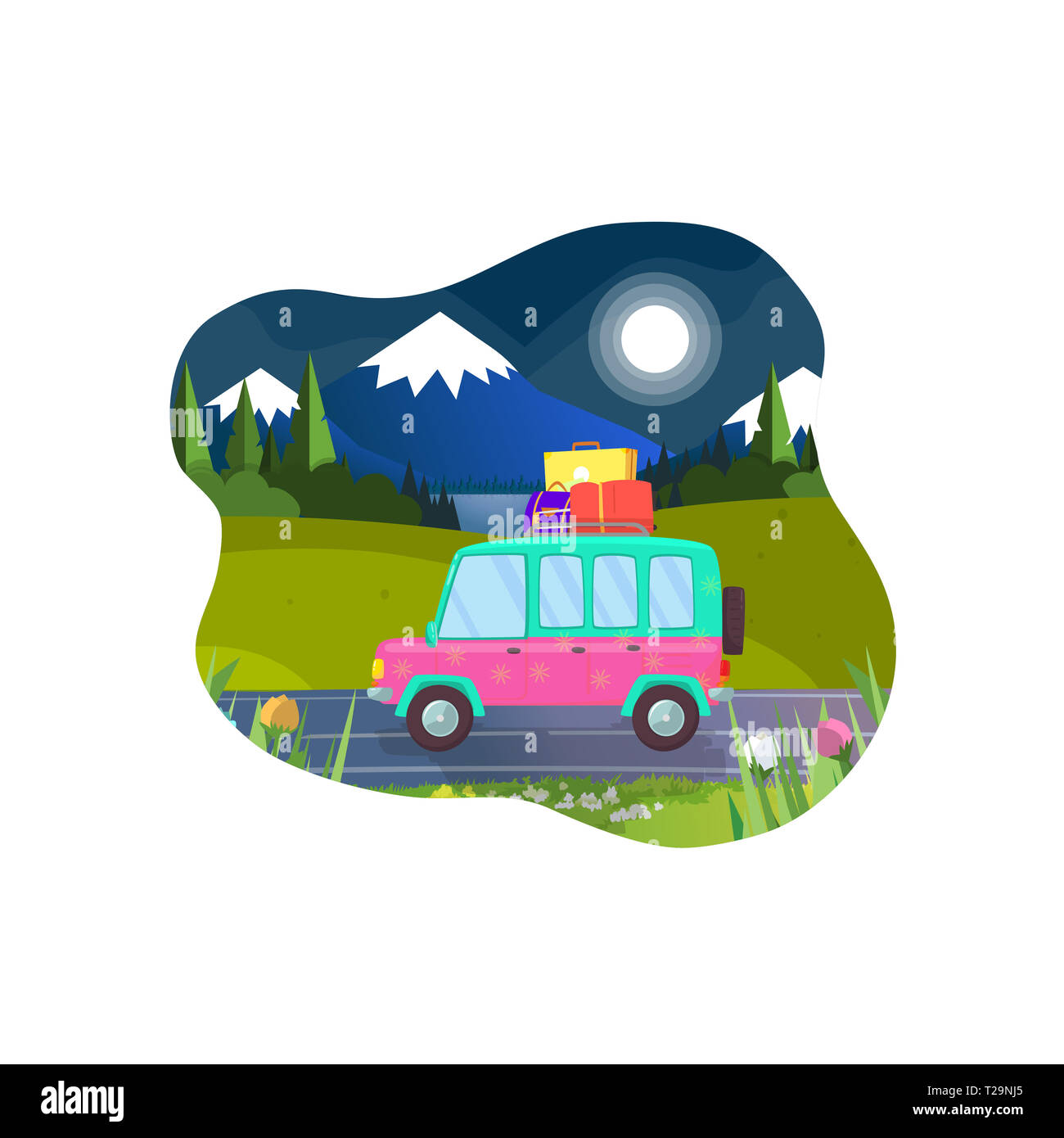 Car With Luggage on Roof Ready for Summer Vacation and Camping. Hatchback Driving along Mountains Landscape at Night Time. Moon Shining. Friends or Fa - Stock Image