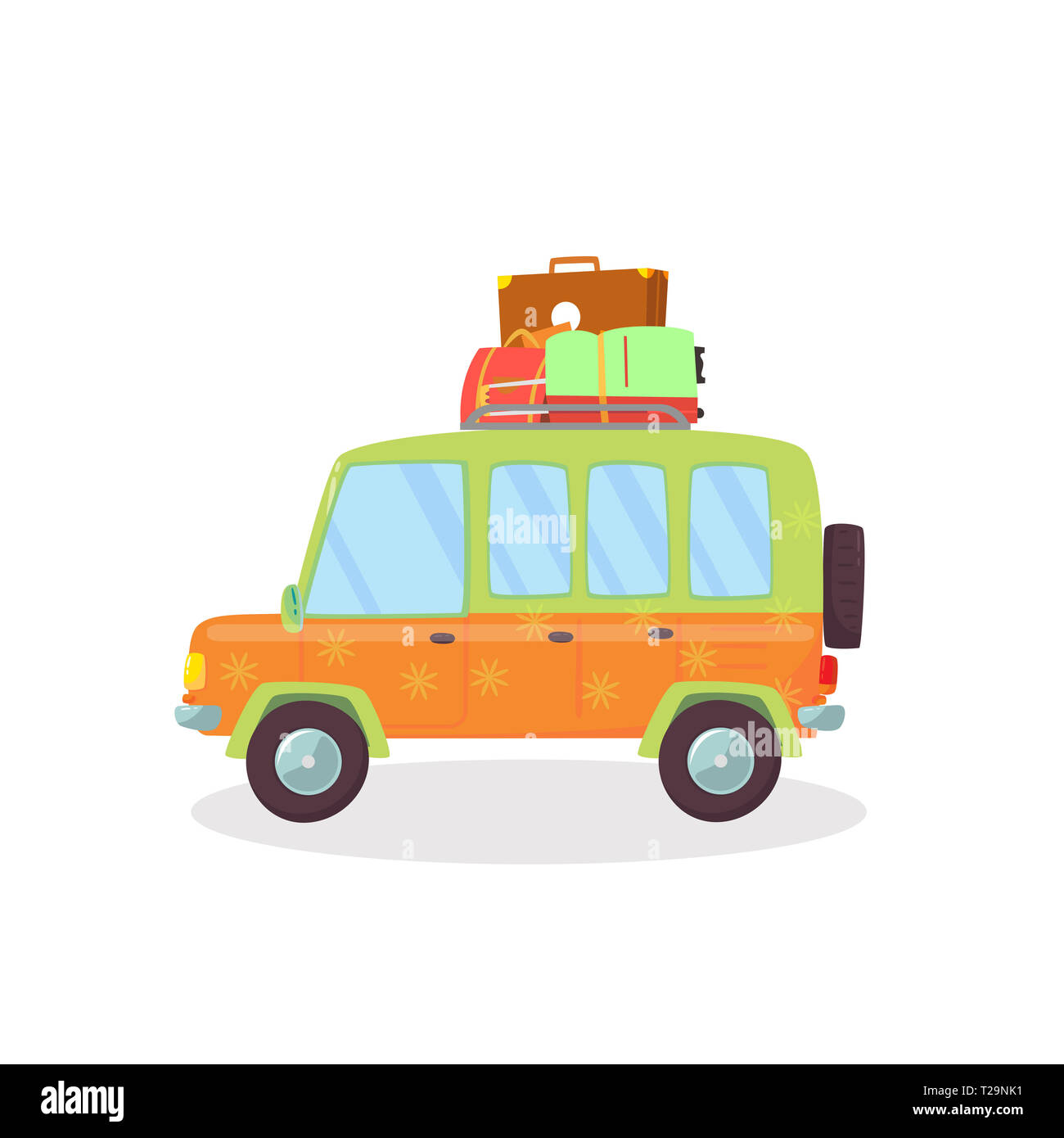 Orange, Green Colored Modern Car with Suitcases on Roof Isolated on White Background. Side View of Comfortable Coupe Automobile for Family Traveling.  - Stock Image