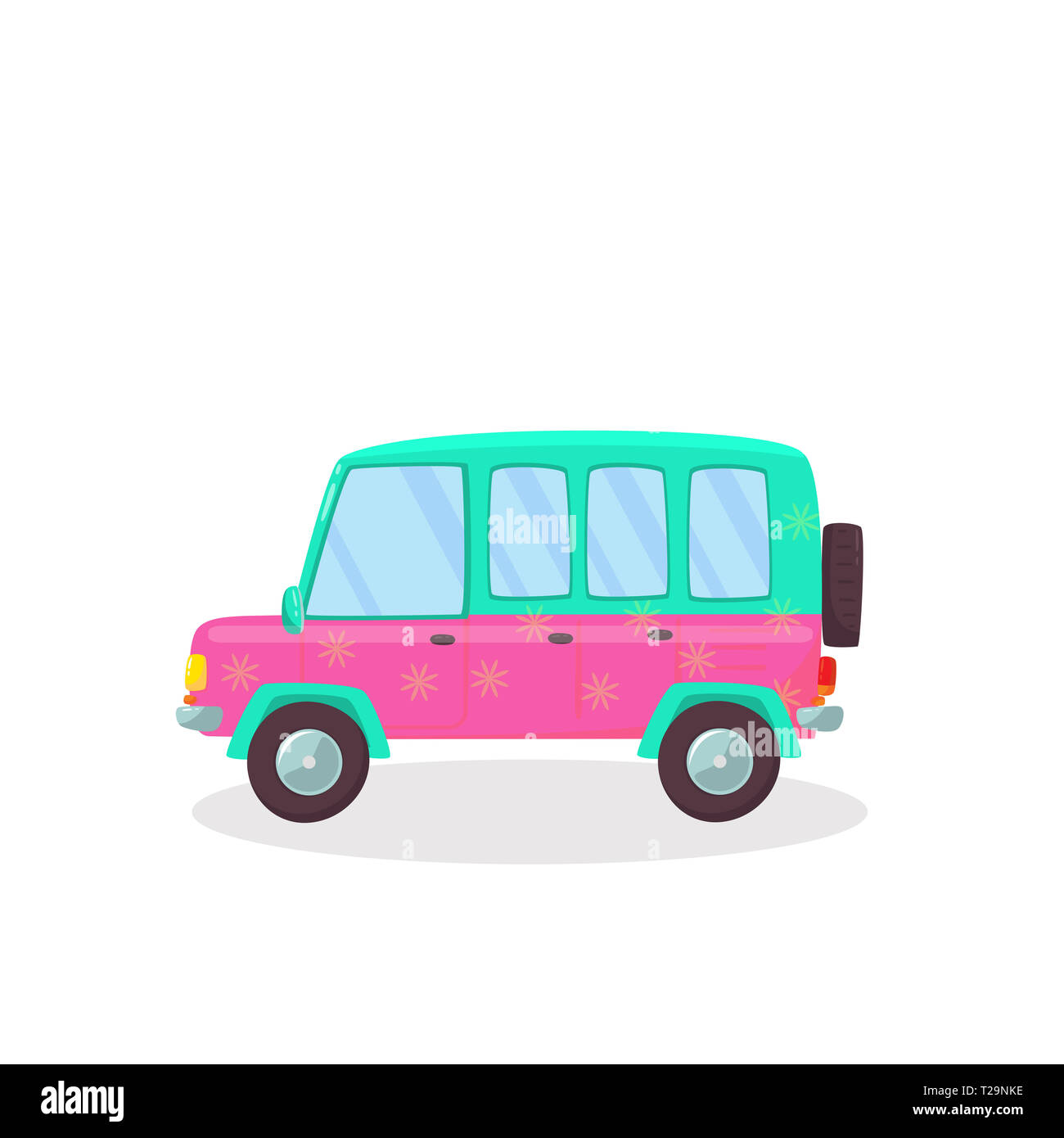 Pink , Green Colored Modern Car with Flowers Pattern Isolated on White Background. Side View of Comfortable Hatchback Automobile for Family Traveling. - Stock Image