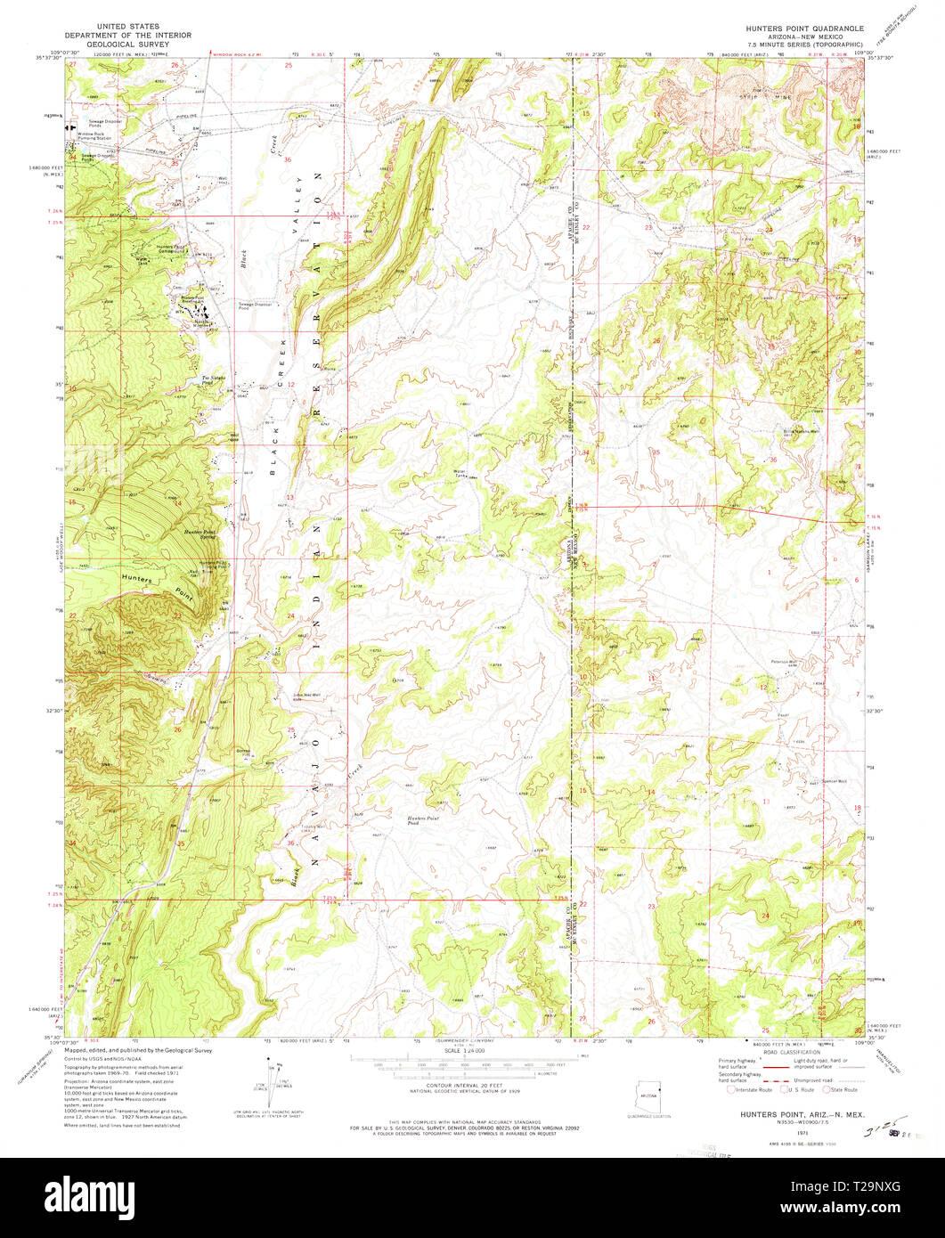 Map Of Arizona 1858.Usgs Topo Map Arizona Az Hunters Point 311858 1971 24000 Restoration