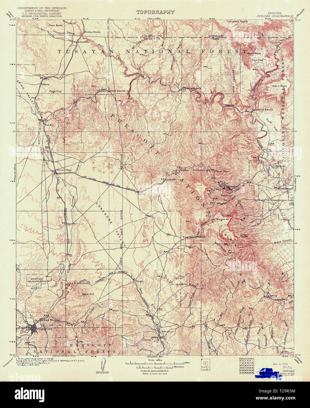 Map Of Arizona Including Jerome.Usgs Topo Map Arizona Az Jerome 315370 1905 125000 Restoration Stock