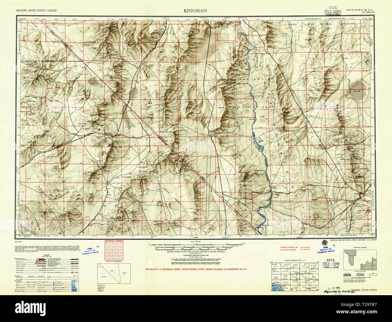 Map Of Arizona Kingman.Usgs Topo Map Arizona Az Kingman 315522 1955 250000 Restoration