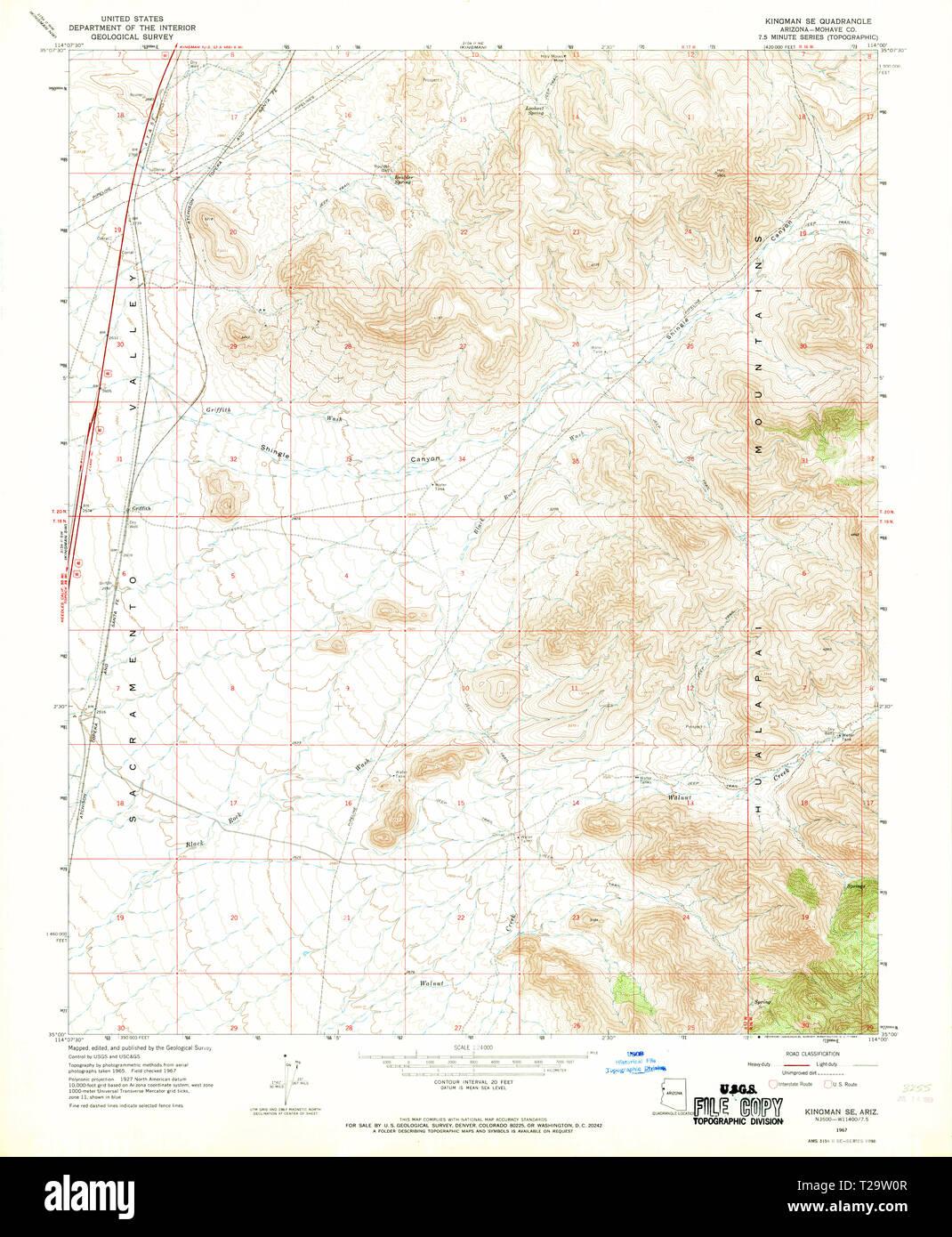 Map Of Arizona Kingman.Usgs Topo Map Arizona Az Kingman Se 311980 1967 24000 Restoration