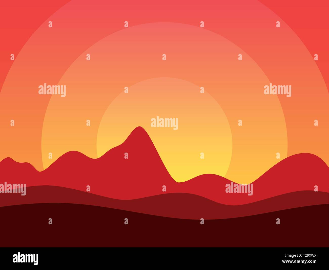 Desert of America or Africa, Vector illustration with copy space at top of image in EPS10. Beautiful Horizontal Landscape at Hot Sunset. - Stock Vector