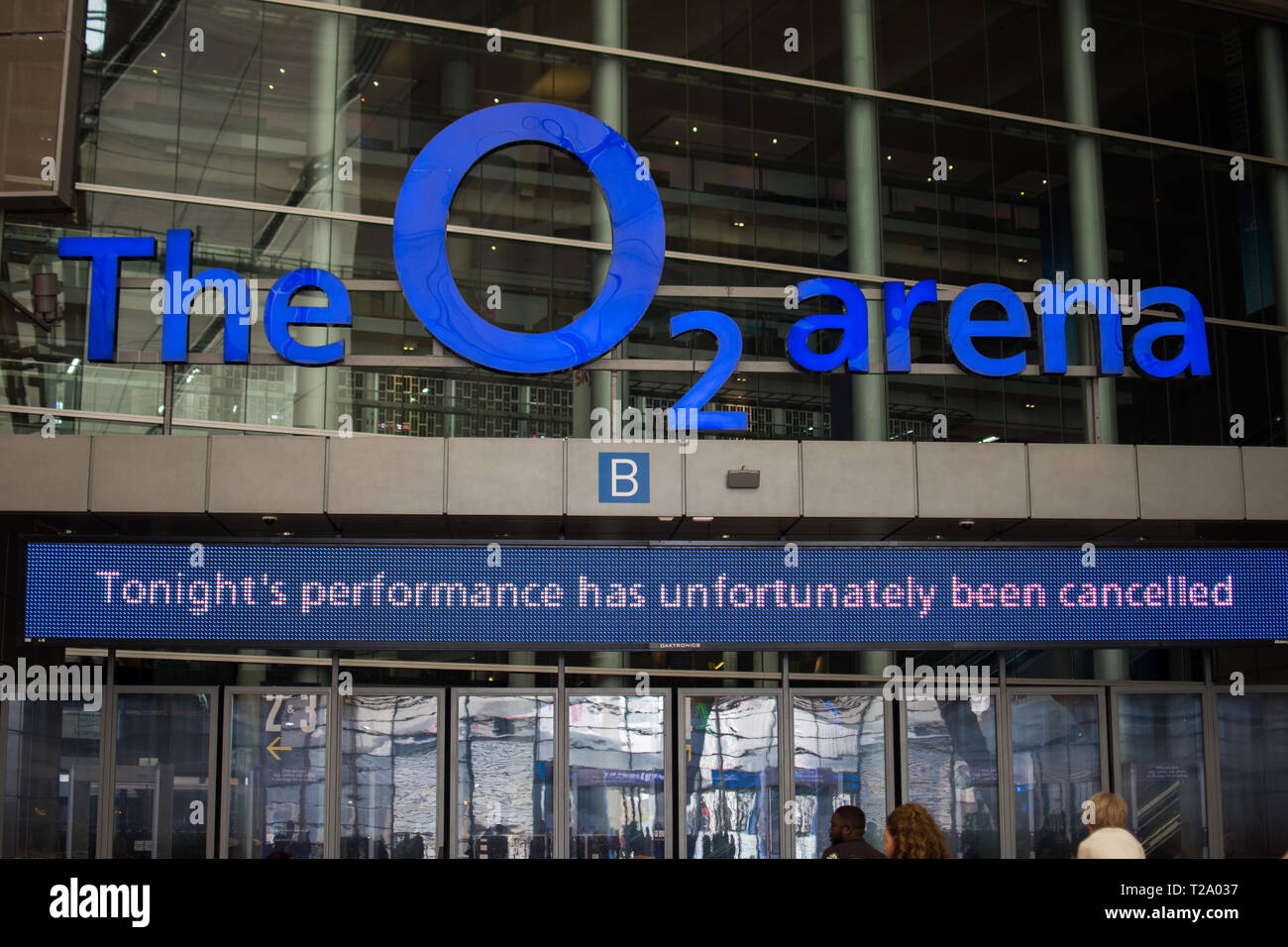London, UK - March 2019: The O2 arena entrance showing 'The performance has been cancelled sign board' - Stock Image