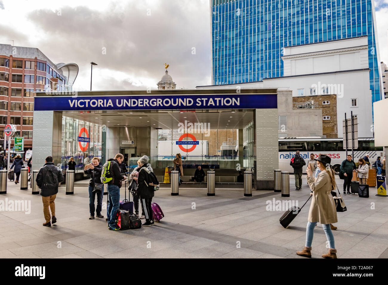 New Entrance To Victoria Underground Station at  Cardinal Walk , London SW1 - Stock Image