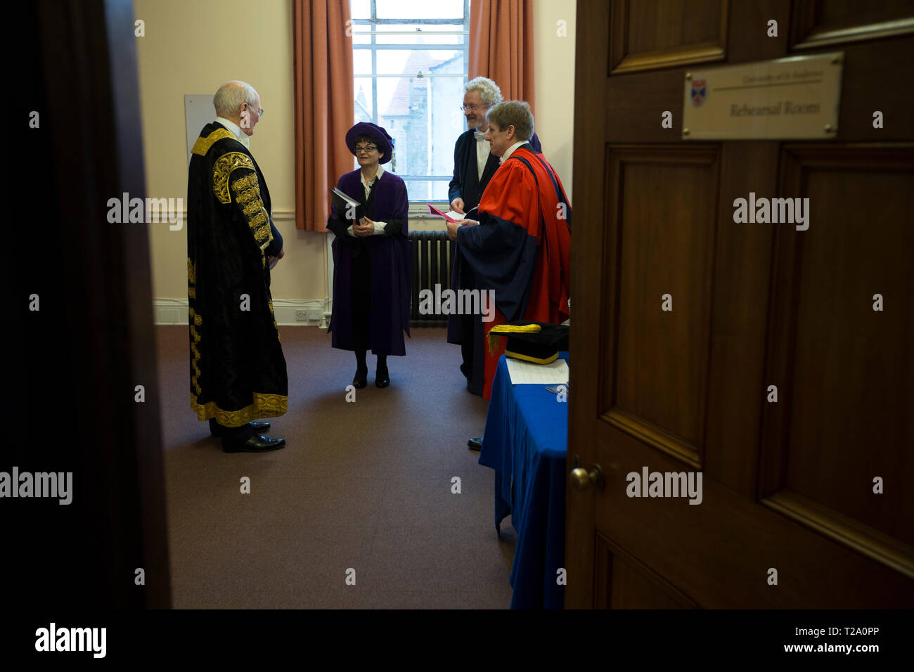 Professor Sally Capstone, Principal and Sir Menzies Campbell, Chancellor in the robing room at the Younger Hall at the University of St. Andrews, on graduation day, 30th November, 2016. - Stock Image