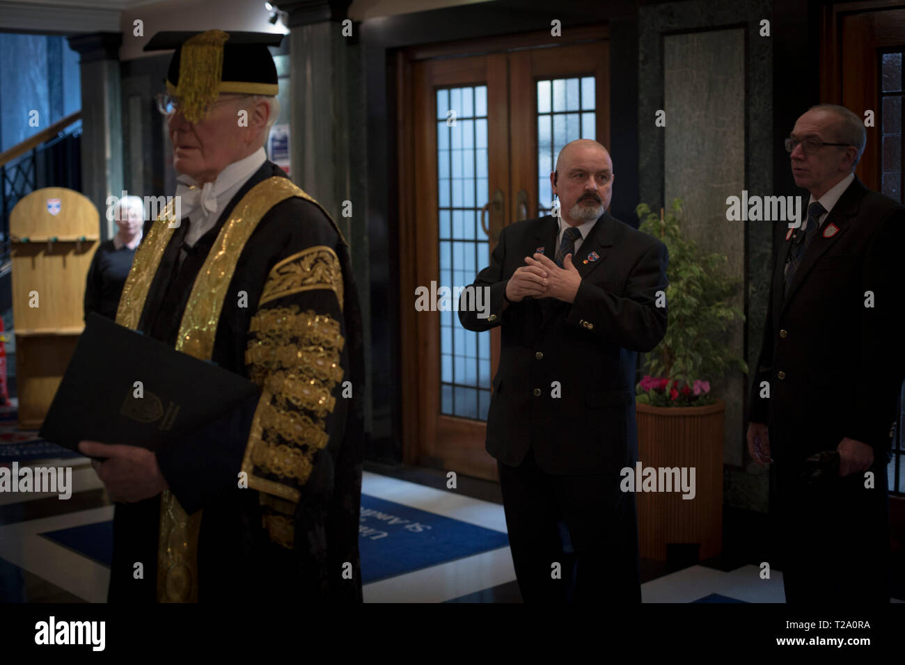 Sir Menzies Campbell, Chancellor, waiting for the start of the ceremony at the Younger Hall at the University of St. Andrews, on graduation day, 30th November, 2016. - Stock Image