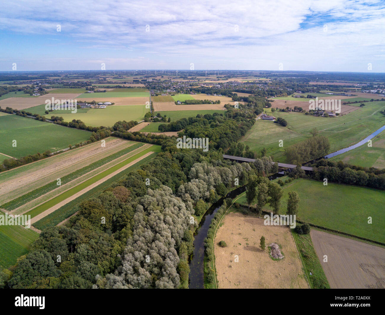 Aerial image of the Niederrhein landscape in the west of Germany Stock Photo