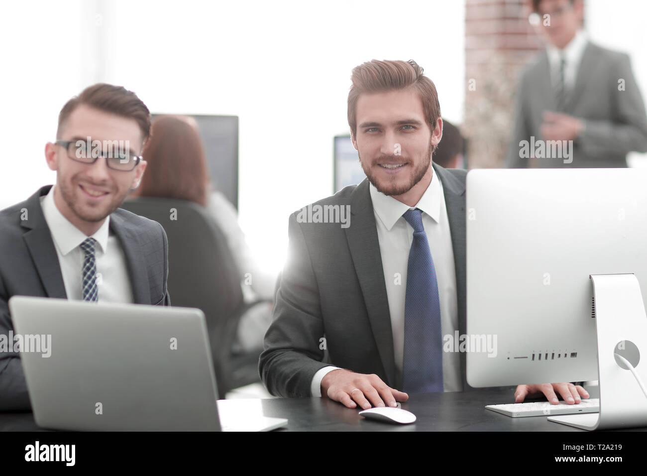 Business partners discuss prospects of the agreement - Stock Image
