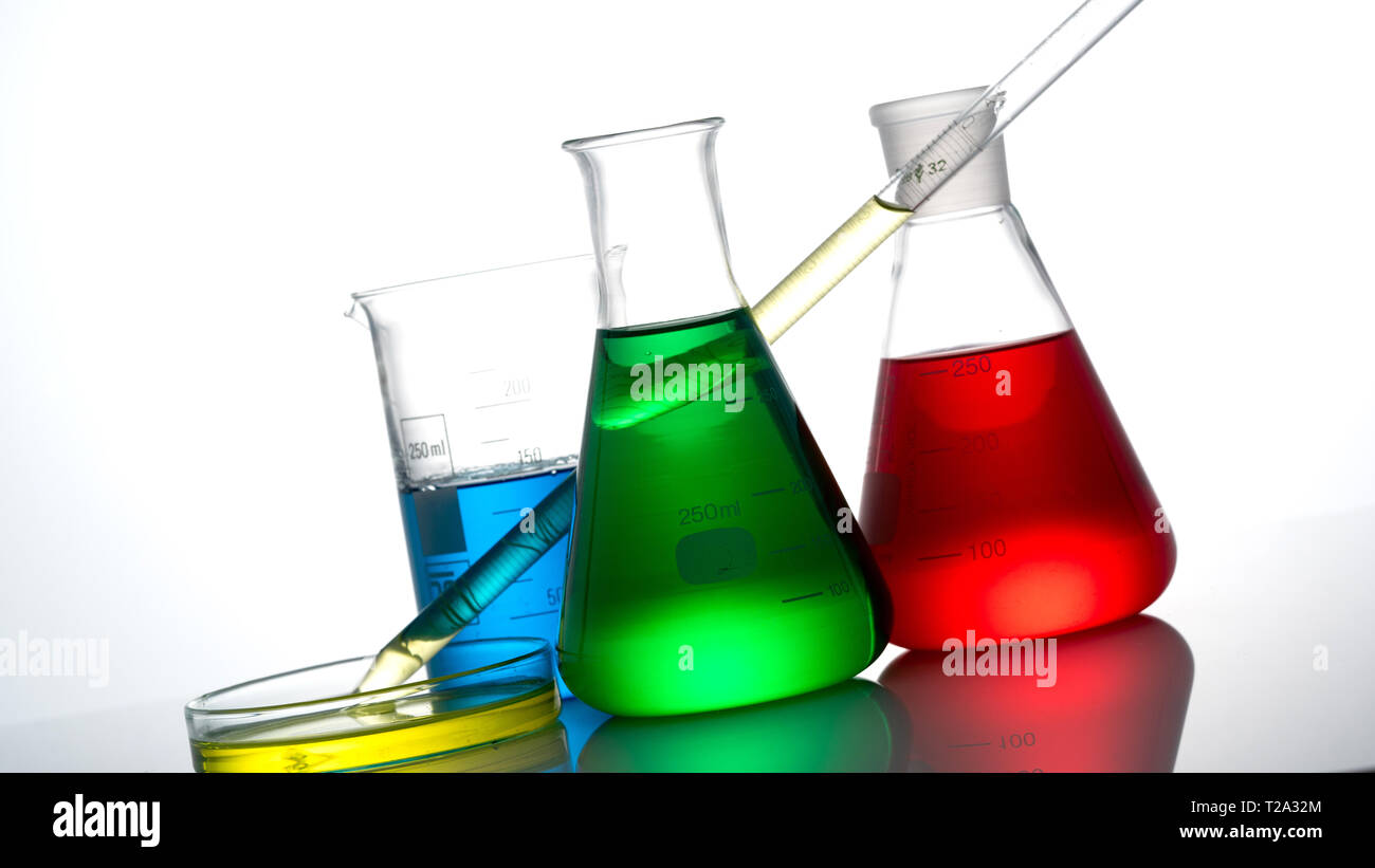 Chemical science glass on white background Stock Photo