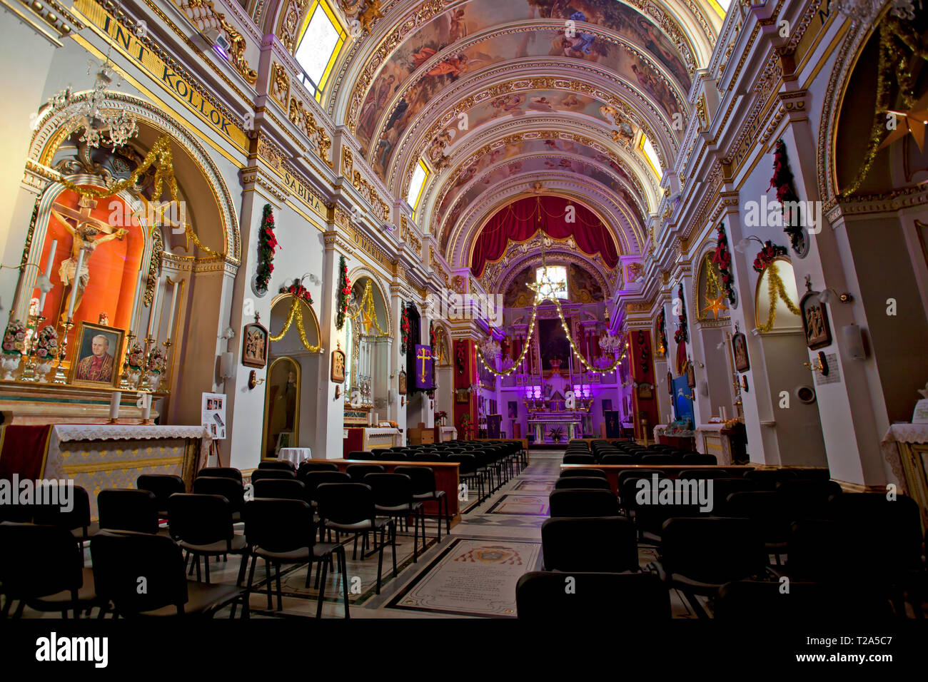Church interior with domed roof, Gozo Stock Photo