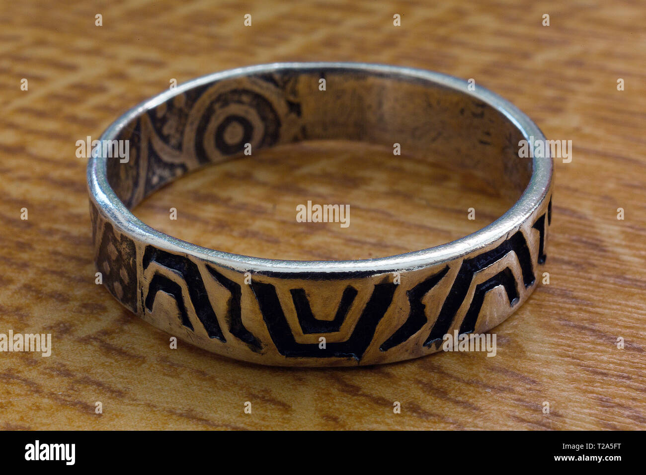 very,close,of,silver,ring,runes,Germanic.languages,Greek,alphabet,150,ad, - Stock Image