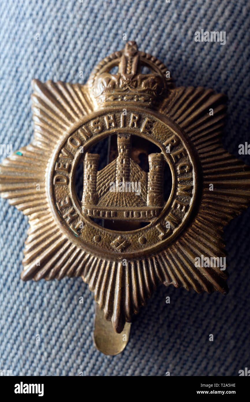 1st,first,world,war,certificate,of,service,badge,cap,Royal,Devon,Yeomanry,Gallipoli,Egypt,Palestine,France,1914-1919,Albert Robert Eden, - Stock Image