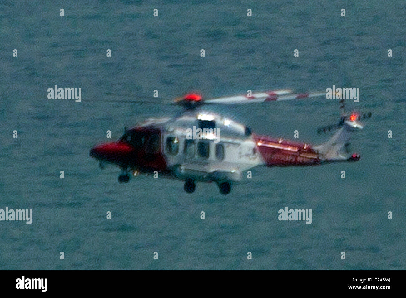 close,up,of,air,sea,rescue,helicopter,through,heat,haze,Leonardo AW189 ,Coastguard,SAR,Bristow Helicopters Limited,HM, - Stock Image