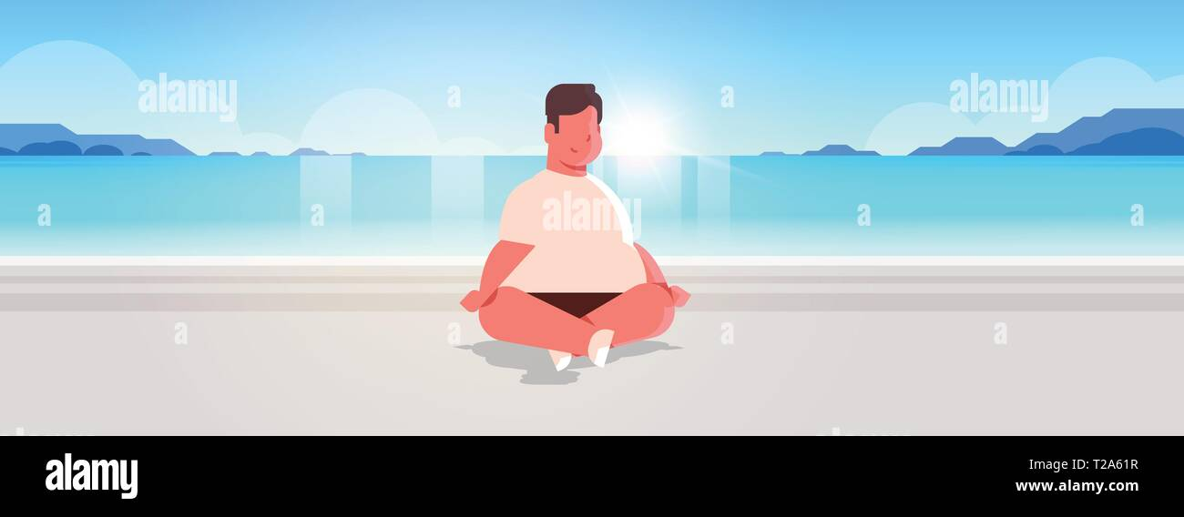 fat obese man sitting lotus pose on sea beach overweight guy relaxing summer vacation concept seaside ocean beautiful landscape background full length - Stock Vector