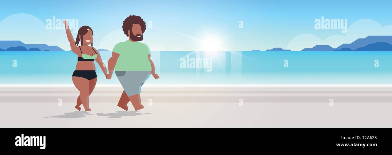 fat obese couple walking sea beach overweight man woman in love holding hands summer vacation concept beautiful seaside sunset landscape background - Stock Vector