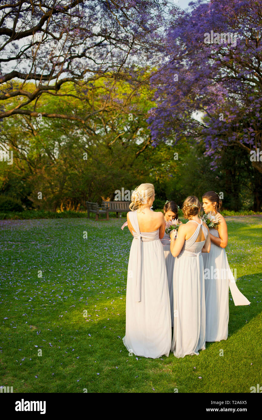 Bridesmaids at wedding at St Andrew's School for Girls Stock Photo