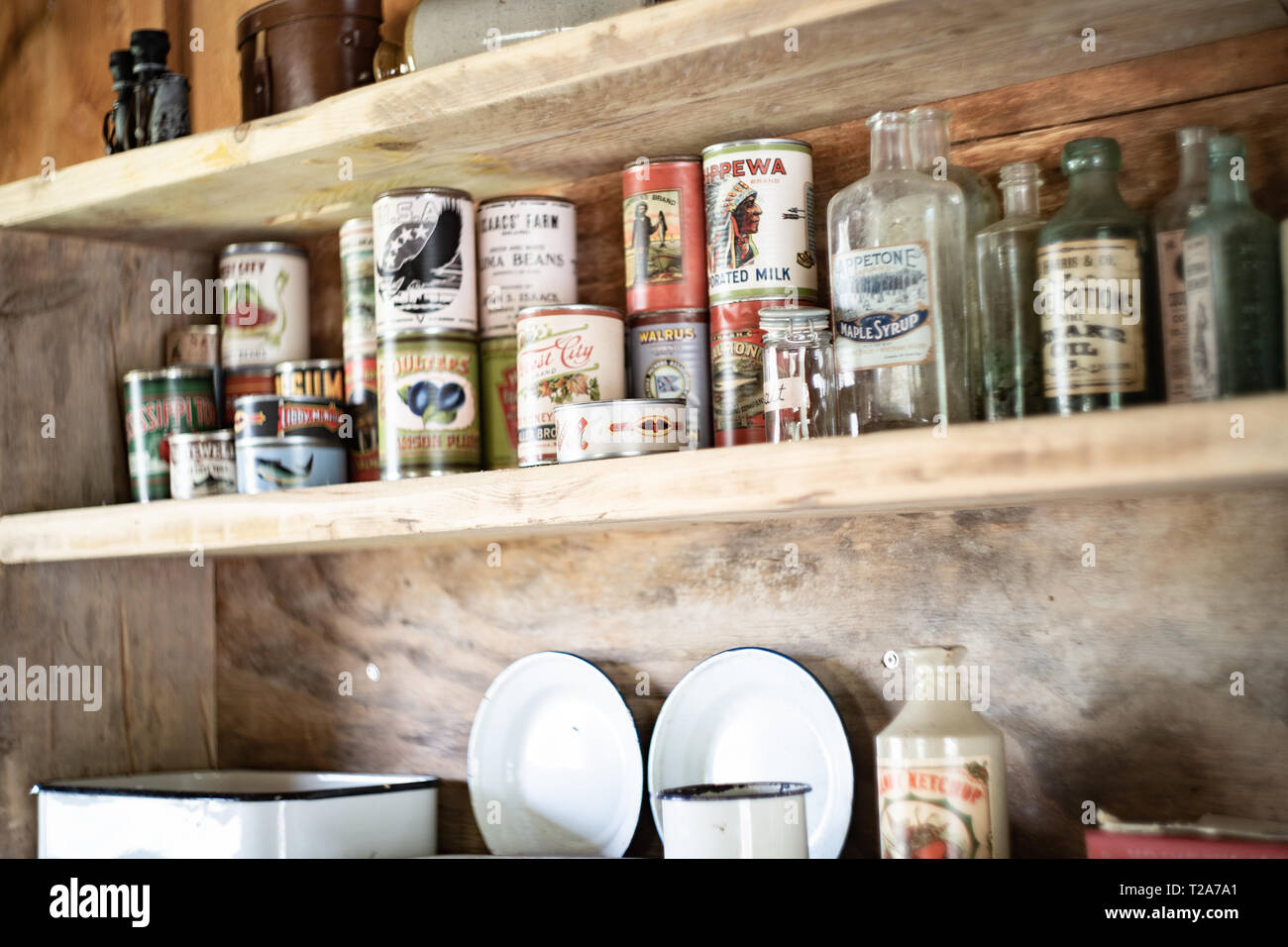 Shelf with old / traditional North American food tins and bottles on a shelf in a trapper's hut / cabin - Stock Image