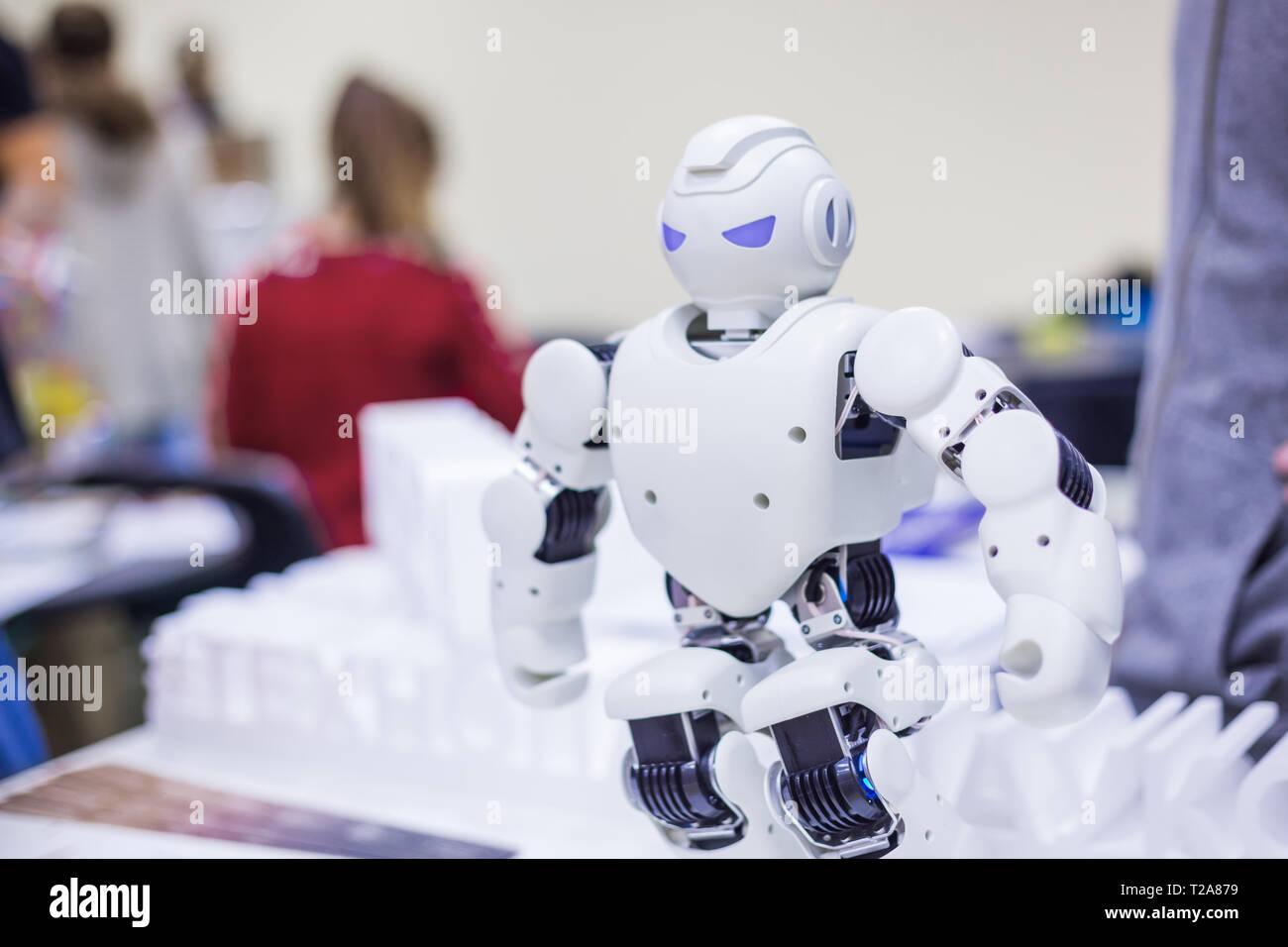 Portrait of humanoid futuristic robot - Stock Image