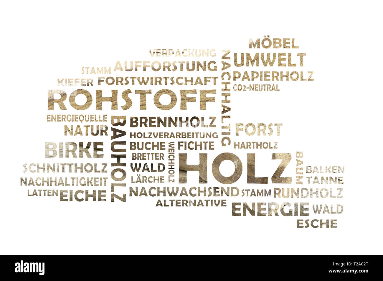 Word cloud cut out with wood as background and relevant german keywords on the subject of raw material wood - Stock Image