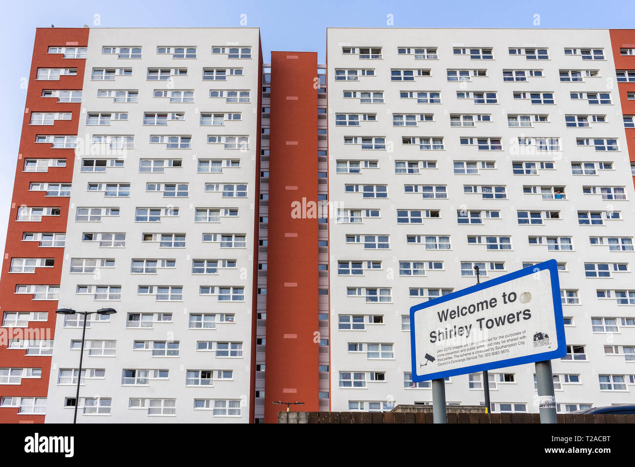 Shirley Towers a residential council owned concrete tower block 2019, Shirley district council estate, Southampton, England, UK - Stock Image