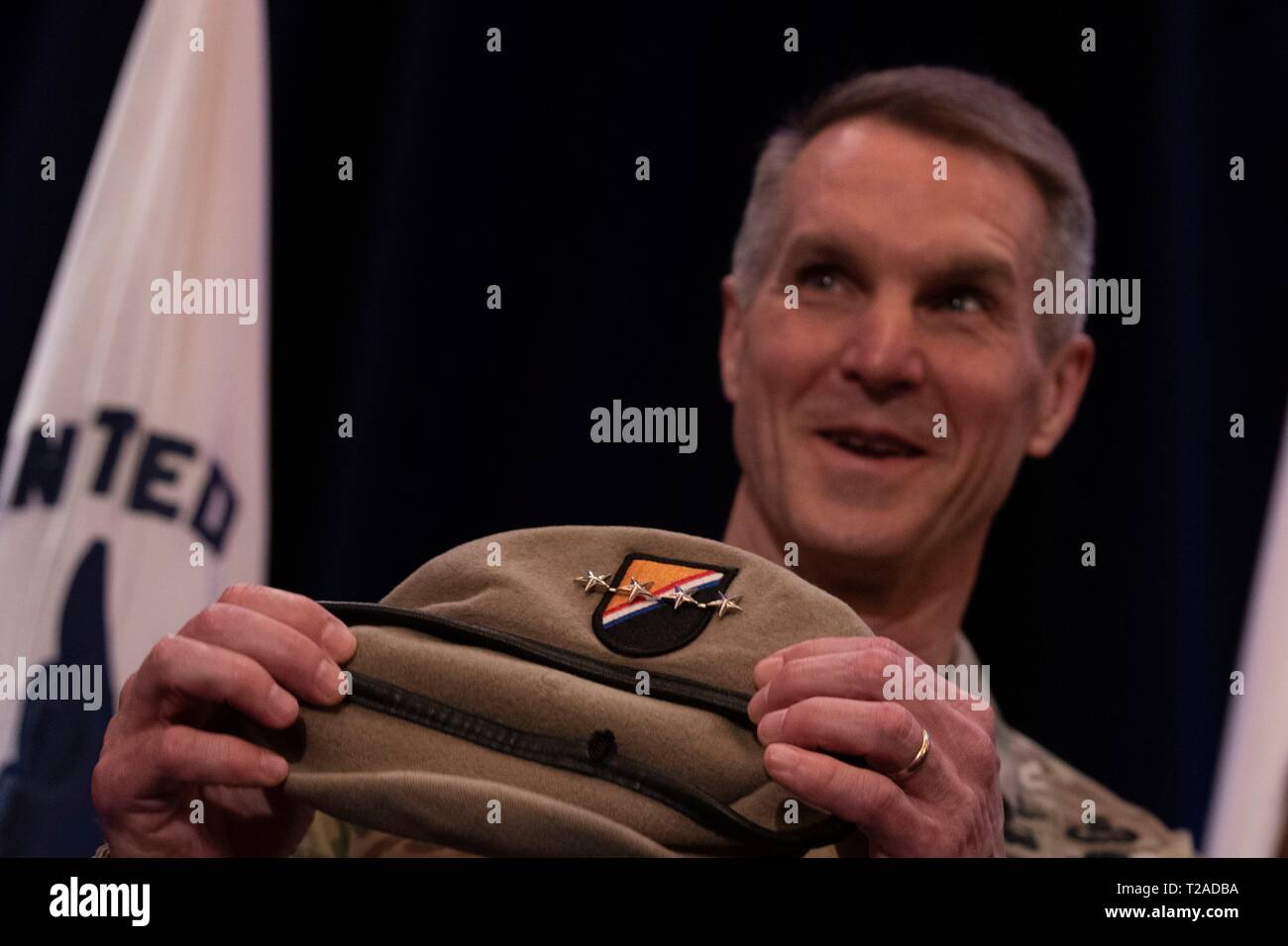 U.S. Army Lt. Gen. Richard D. Clarke during his promotion ceremony as a four star general and the new commander of the Special Operations Command during a ceremony at Macdill Air Force Base March 29, 2019 in Tampa, Florida. - Stock Image