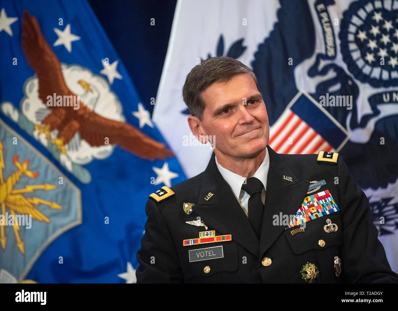 The outgoing commander of U.S. Central Command, General Joseph L. Votel, during his retirement ceremony at Macdill Air Force Base March 29, 2019 in Tampa, Florida. Votel retired after 39 years of military service. Stock Photo