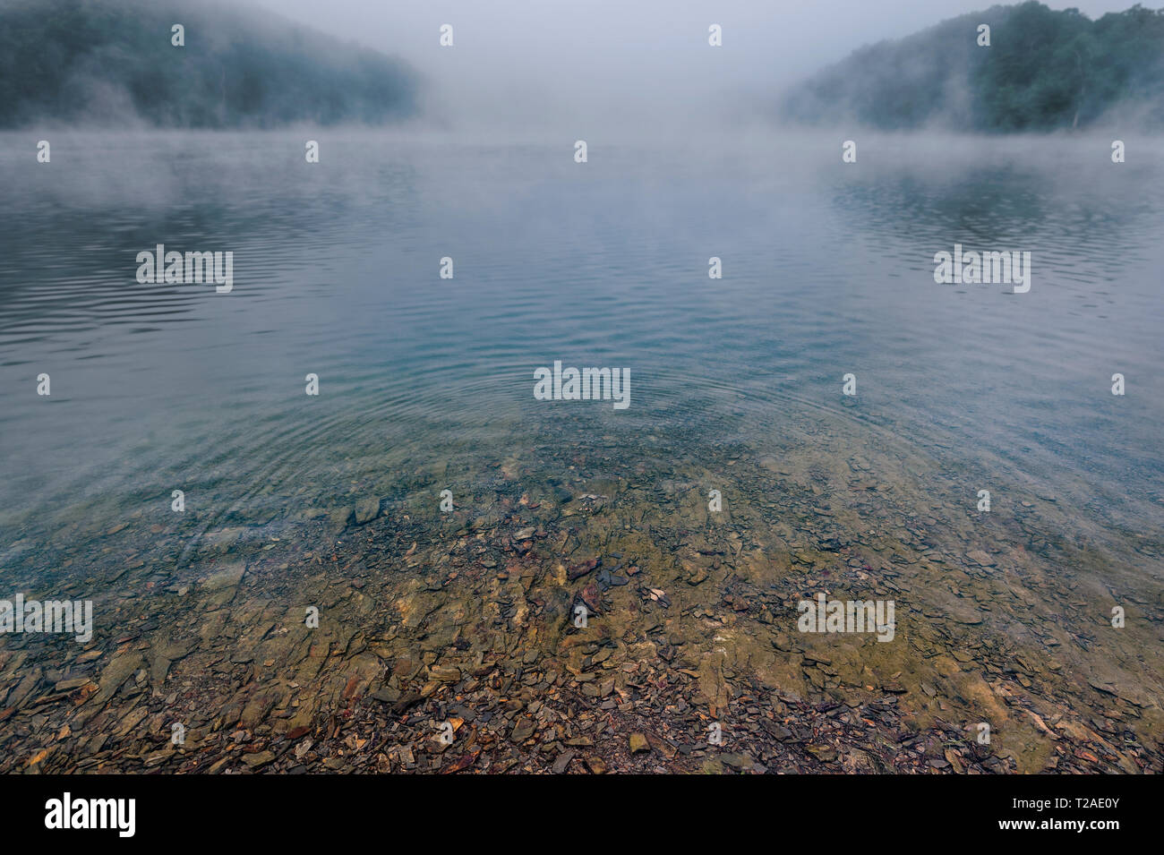 Ripples On Clear Mountain Lake With Misty Fog - Stock Image