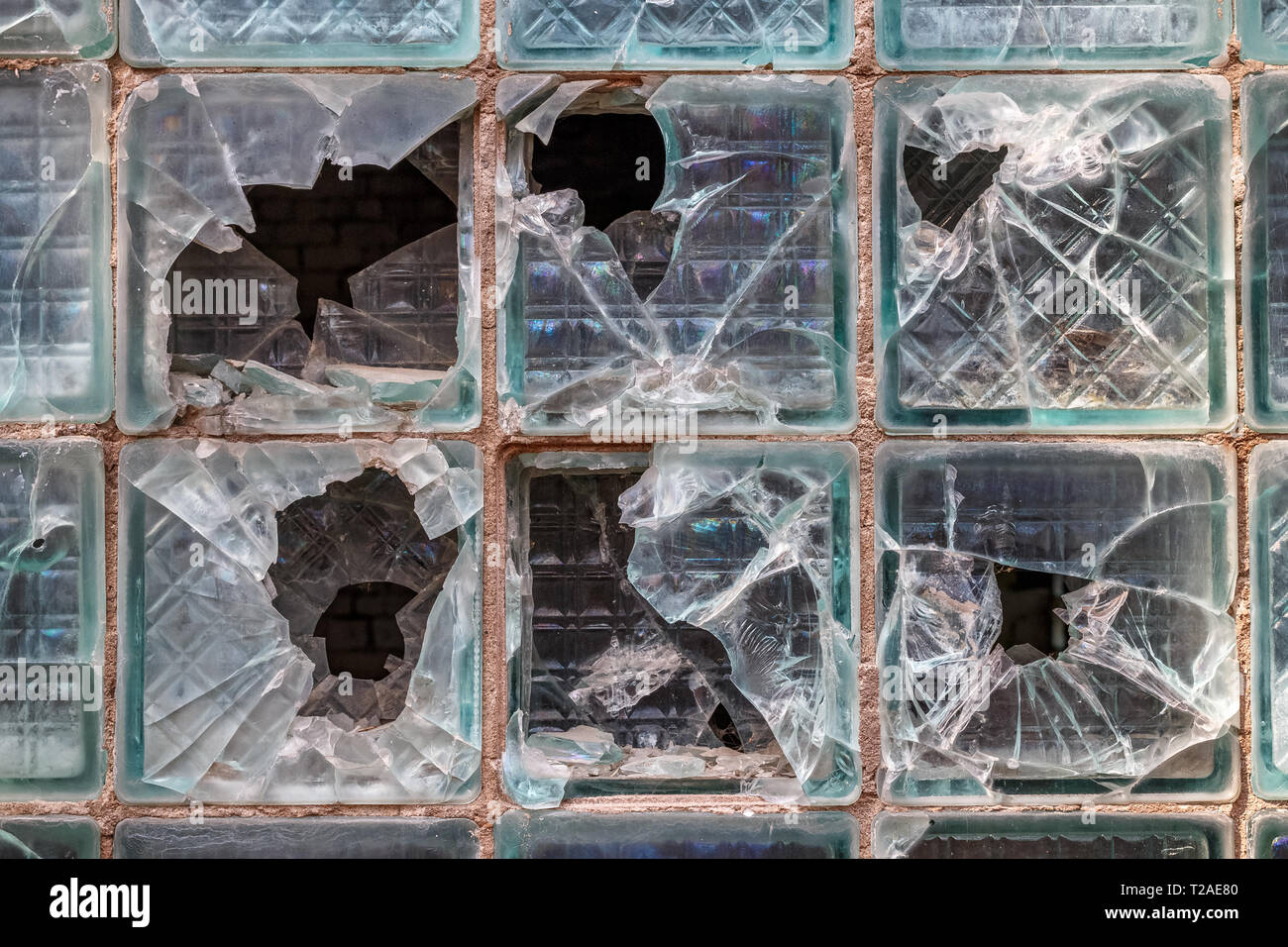 Texture background of old broken glass blocks for mockup or design pattern in construction, food or industrial flat layer of sample concept. - Stock Image