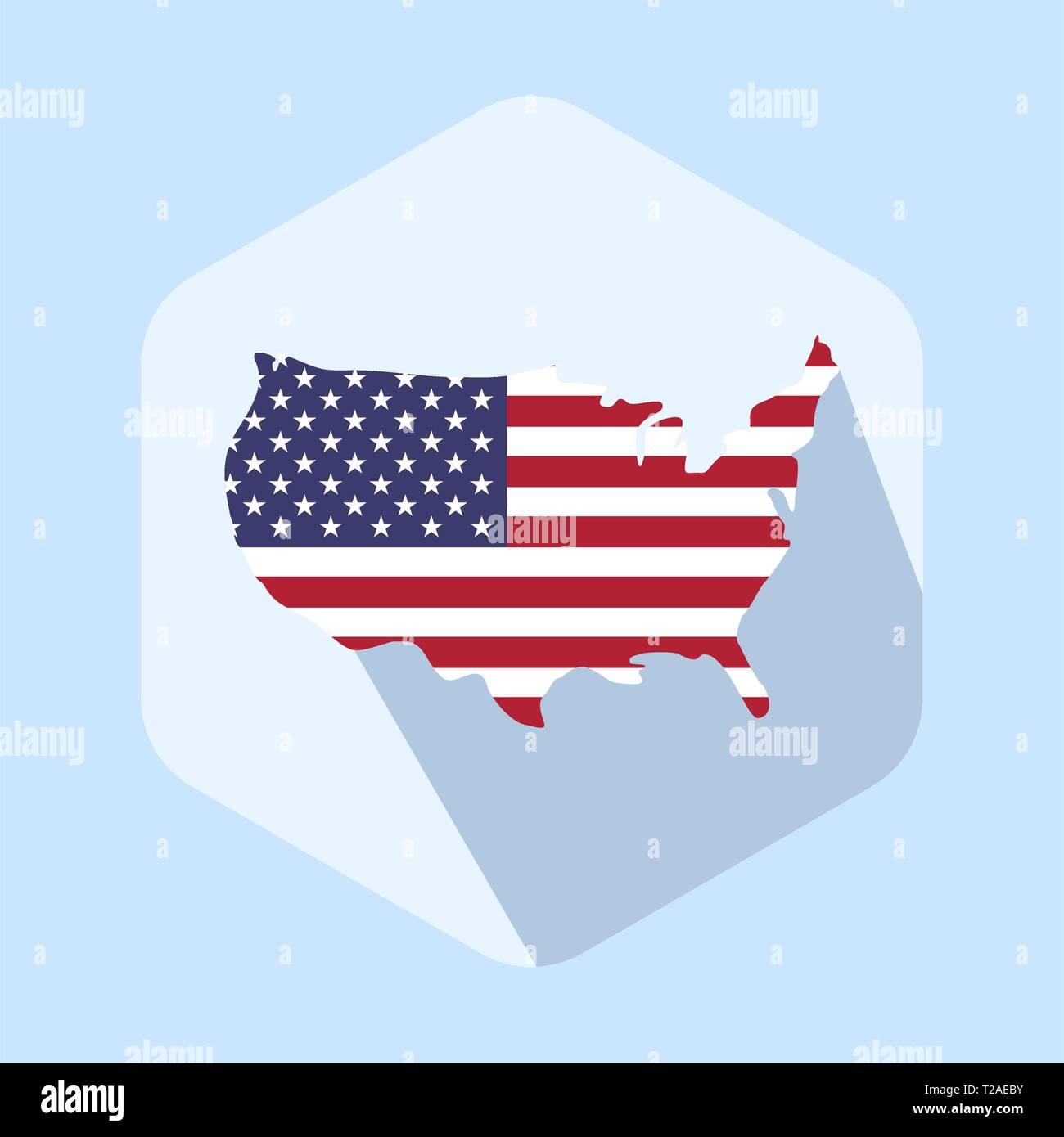 Usa flag map icon template. Flat design vector - Stock Vector