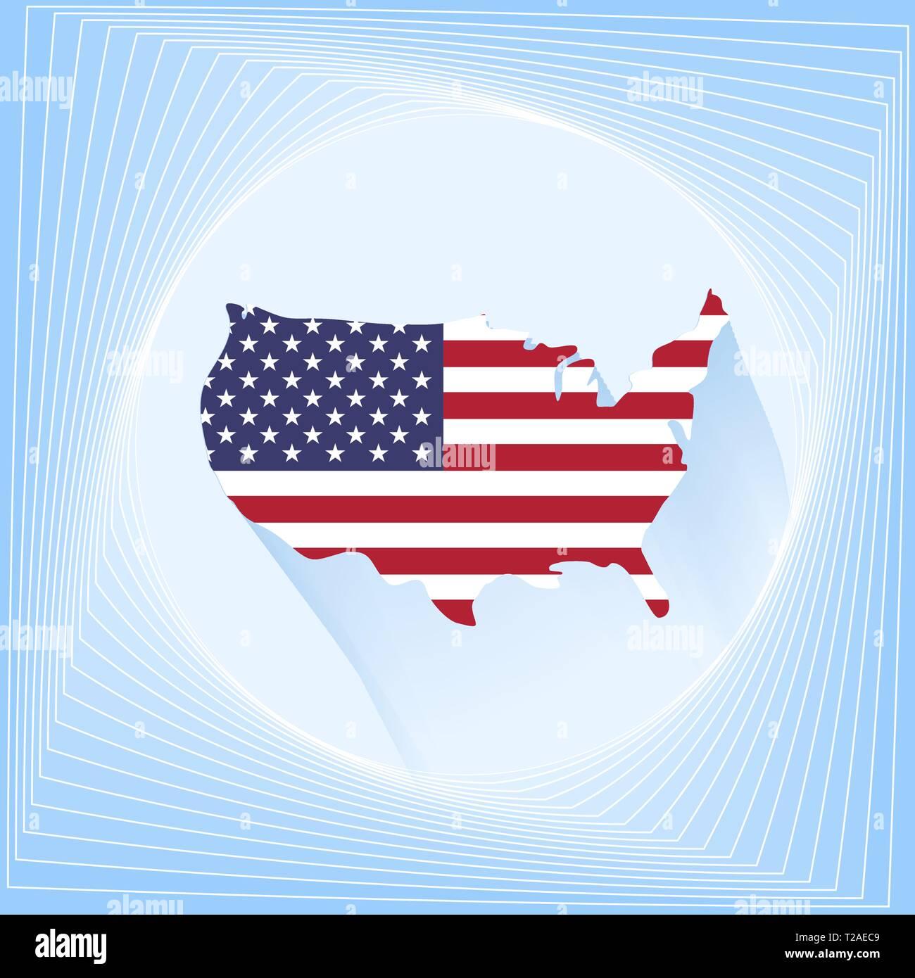Usa flag map icon template. Icon design vector - Stock Vector