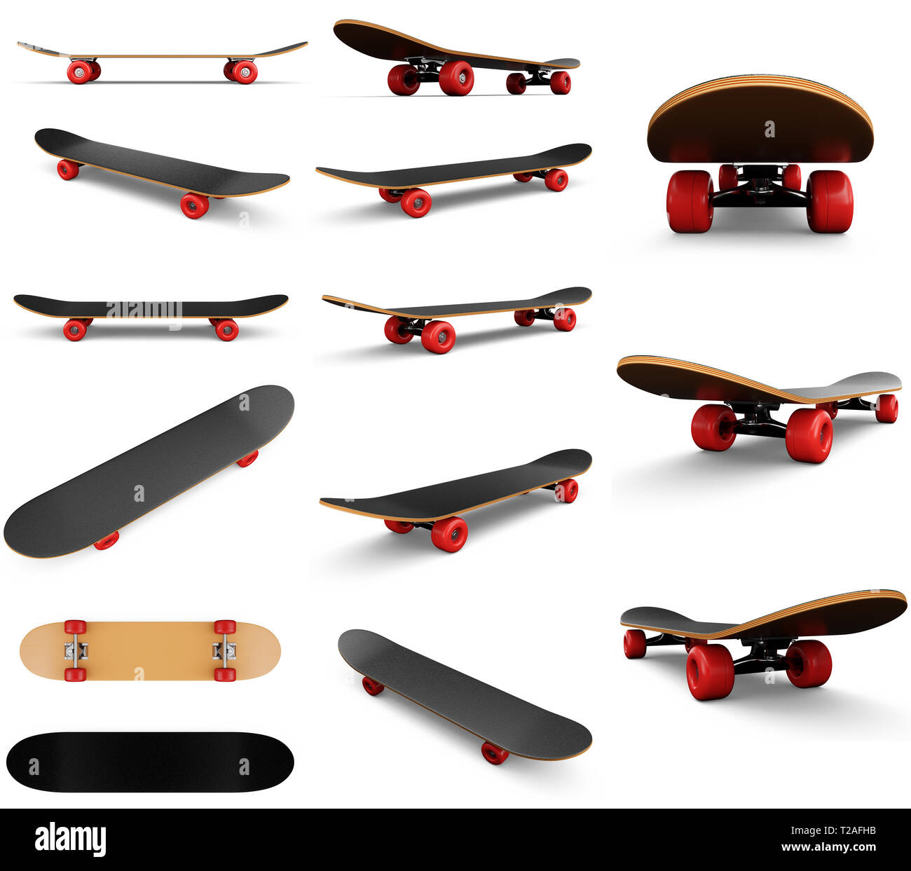 e4f85f5f 3d illustration collection, group, set of fourteen skateboards isolated on  white background. Photorealistic