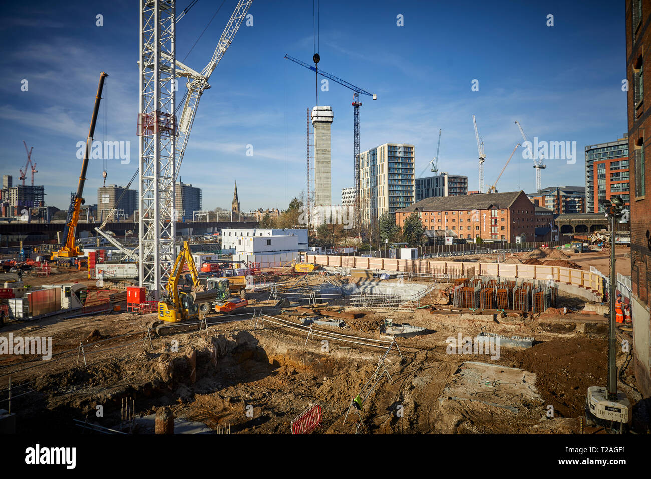 Groundwork St John's £1 bn development  6 hectare plot  central Manchester The Factory  Manchester's world-class new cultural space work starts - Stock Image