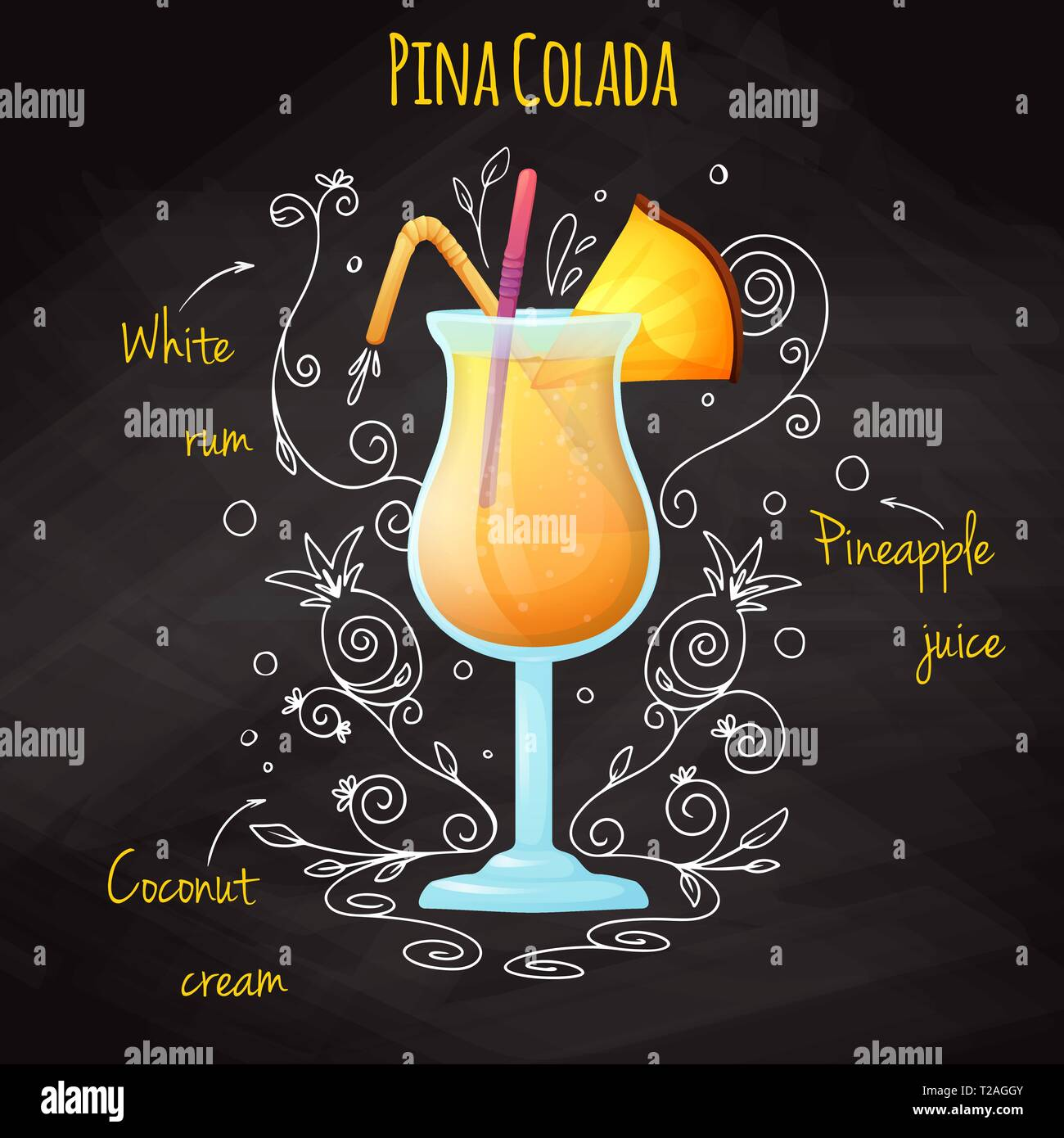 Simple recipe for an alcoholic cocktail Pina Colada. Drawing chalk on a blackboard. Vector illustration Stock Vector